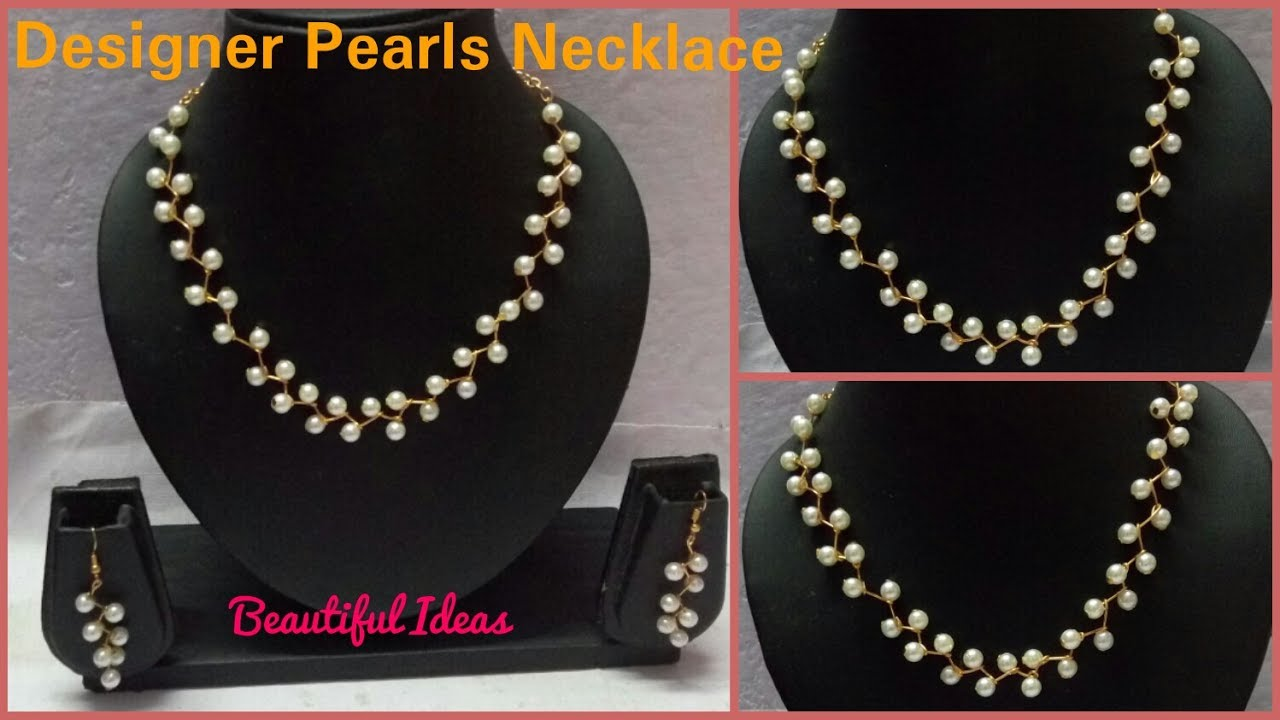 How to Make Pearl Necklace Set //Pearl Designer Necklace Earrings ...