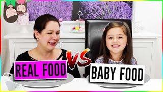 REAL FOOD vs BABY FOOD (selbstgemacht) - Pürierten Hamburger essen? Geschichten und Spielzeug