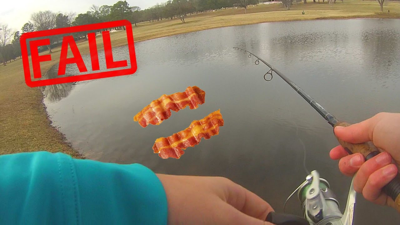 Bass fishing with bacon fail youtube for Fishing with bacon