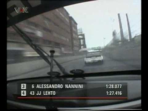 JJ Lehto overtaking Alessandro Nannini at Helsinki ITC 1996
