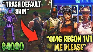I Pretended I was a NOSKIN, Then Showed Recon Expert (RAREST LOCKER) - Fortnite