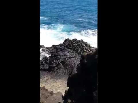 Idiot tourists straddling Hawaii Halona blowhole