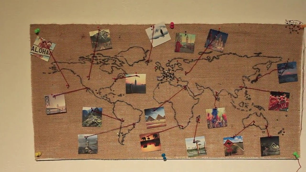 Burlap world map wall decoration diy youtube gumiabroncs Gallery