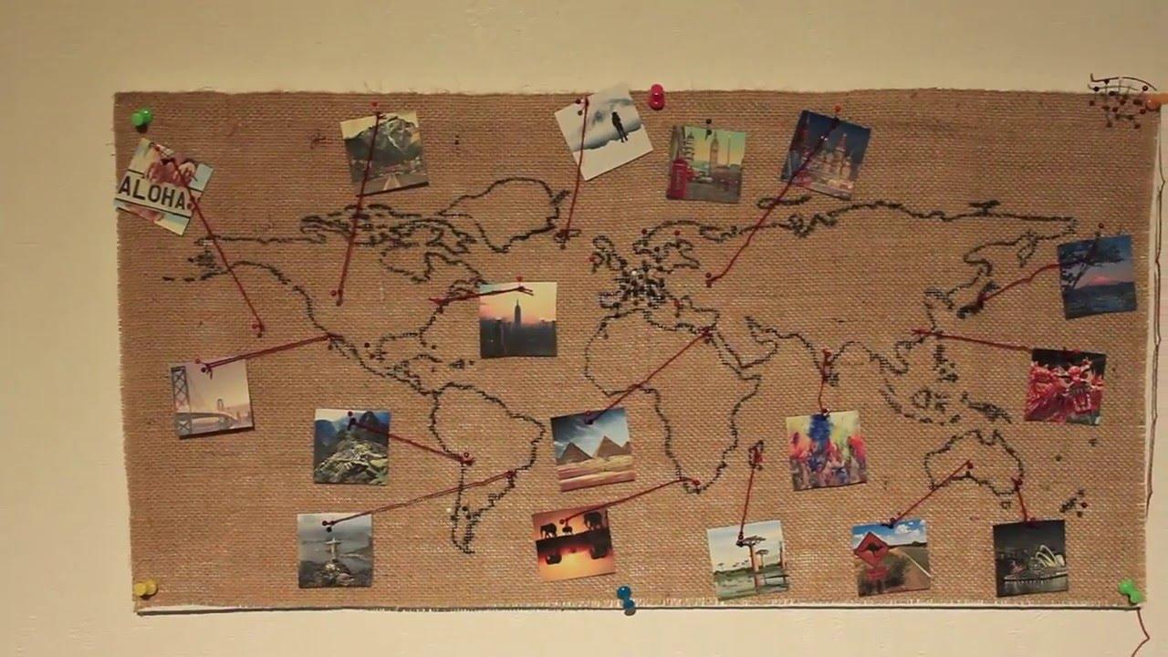 Burlap World Map Wall Decoration Diy Youtube