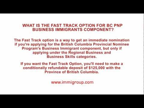 What is the Fast Track Option for BC PNP Business Immigrants component?