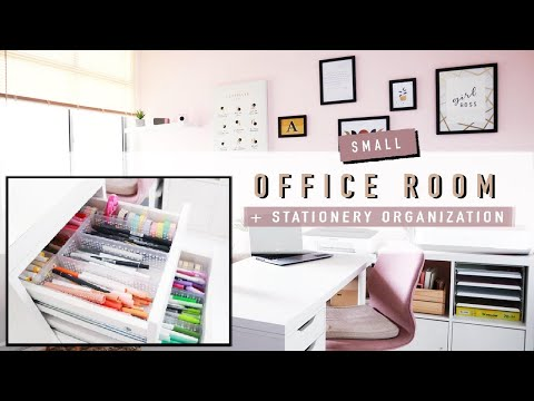 SMALL HOME OFFICE TOUR 2021 | Stationery + Desk Organization