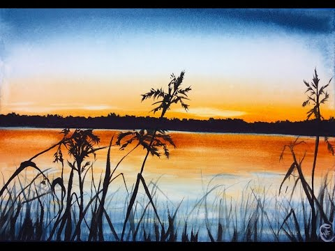 Watercolor Sunrise On A Lake Painting Demonstration