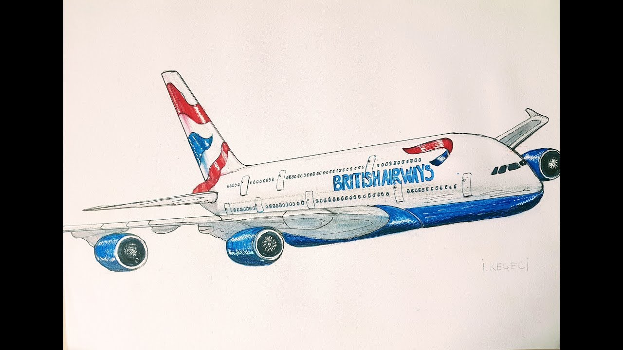 British Airways Airbus A380, (drawing timelapse)