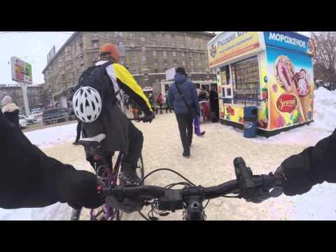Winter cycling in Novosibirsk, Siberia, Russia