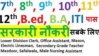 7th/8th/9th/10th/11th/12th/B.Ed./Graduates/ITI Latest Govt. Job For All || Teacher ||  Jobs 2017 Video