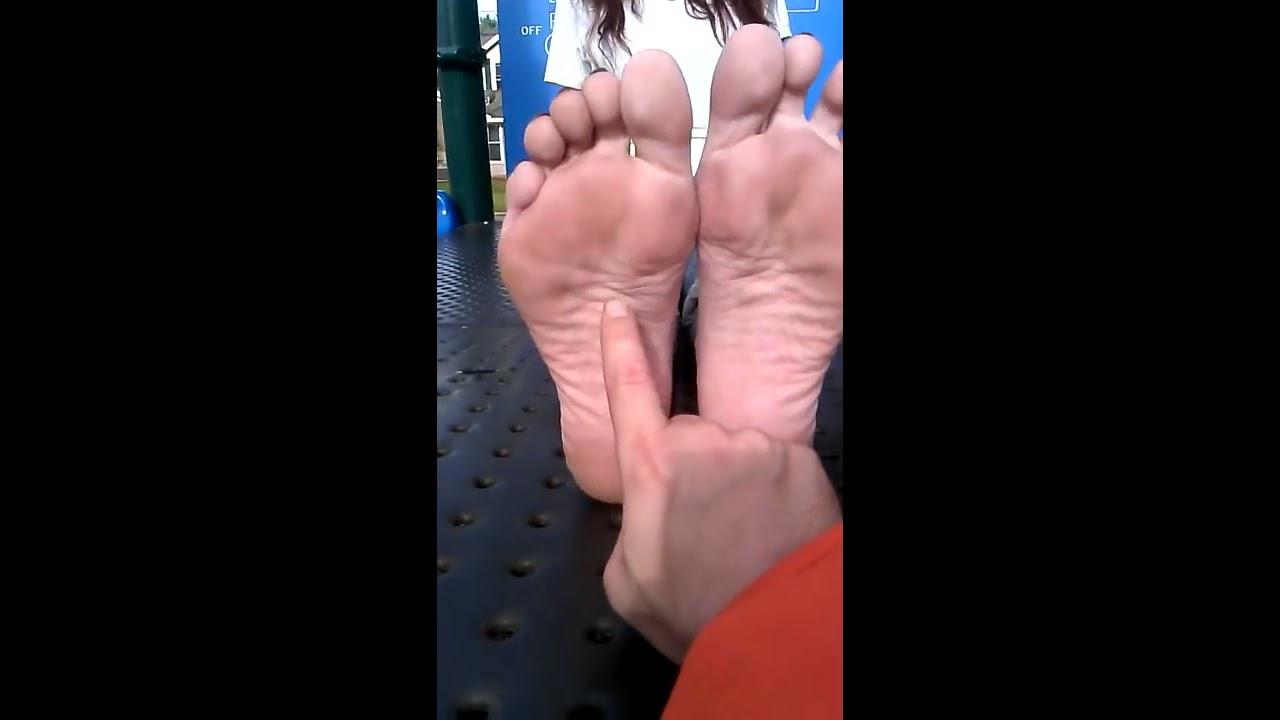 Mature feet tickling