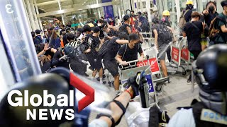 Hong Kong protests: Chaos erupts at airport as police clash with protesters | FULL