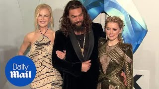 Jason Momoa at Aquaman premiere with Nicole Kidman & Amber Heard