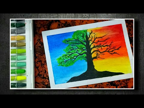 Cara Menggambar Pohon Kehidupan Gambar Surealisme Crayon Oil Pastels Menggambar Crayon