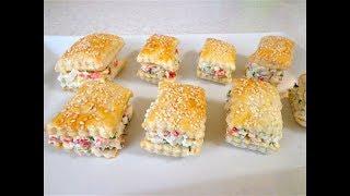 Закусочные пирожные с крабовыми палочками.На скорую руку праздничная закуска!
