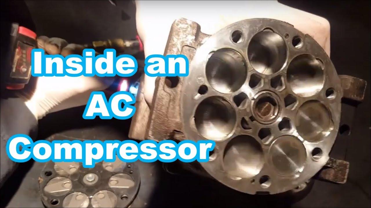 INSIDE OF SANDEN PISTON TYPE AC COMPRESSOR how it works U4682