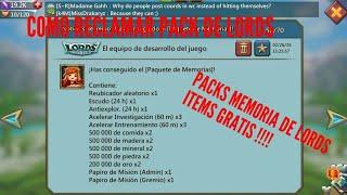 Lords Mobile |Como Reclamar El Evento| Memorias De Lords PACK GRATIS LORDS MOBILE