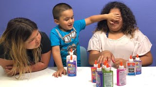 3 COLORS OF GLUE SLIME CHALLENGE WITH OUR LITTLE BROTHER