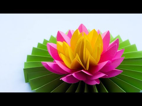 Paper Lotus - How to Make Most Beautiful Paper Lotus/ Water Lily - DIY - Try At Home 😚