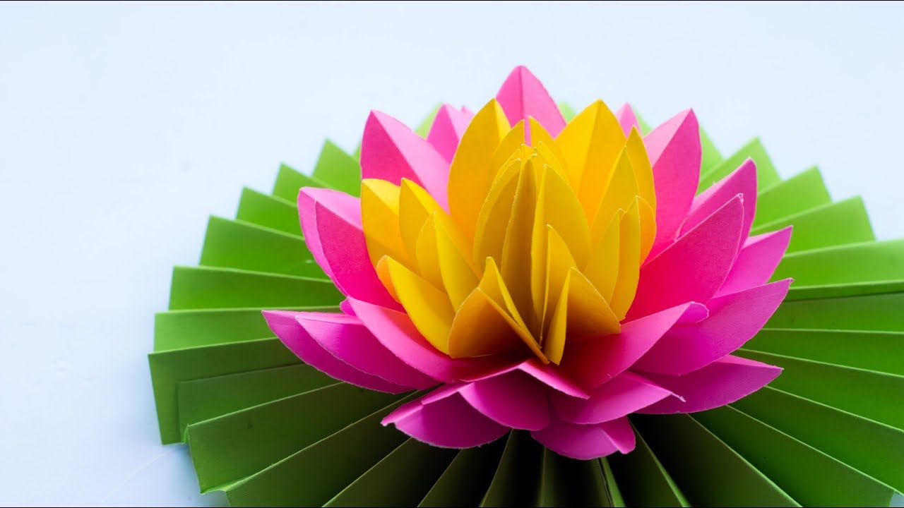Paper lotus how to make most beautiful paper lotus water lily paper lotus how to make most beautiful paper lotus water lily diy try at home izmirmasajfo