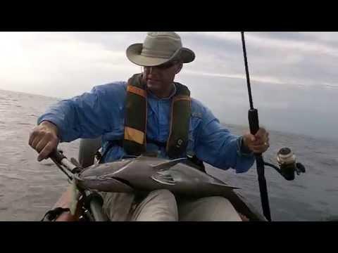Offshore fishing, kayak deep jigging lesson
