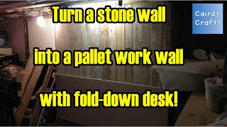 Pallet Wood Working Wall With Fold Down Desk
