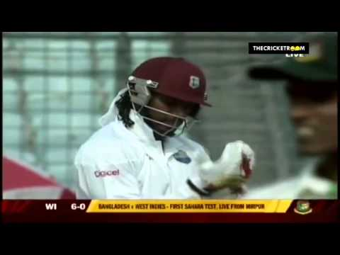Chris Gayle hits the first ball of a Test Match for Six vs Bangladesh