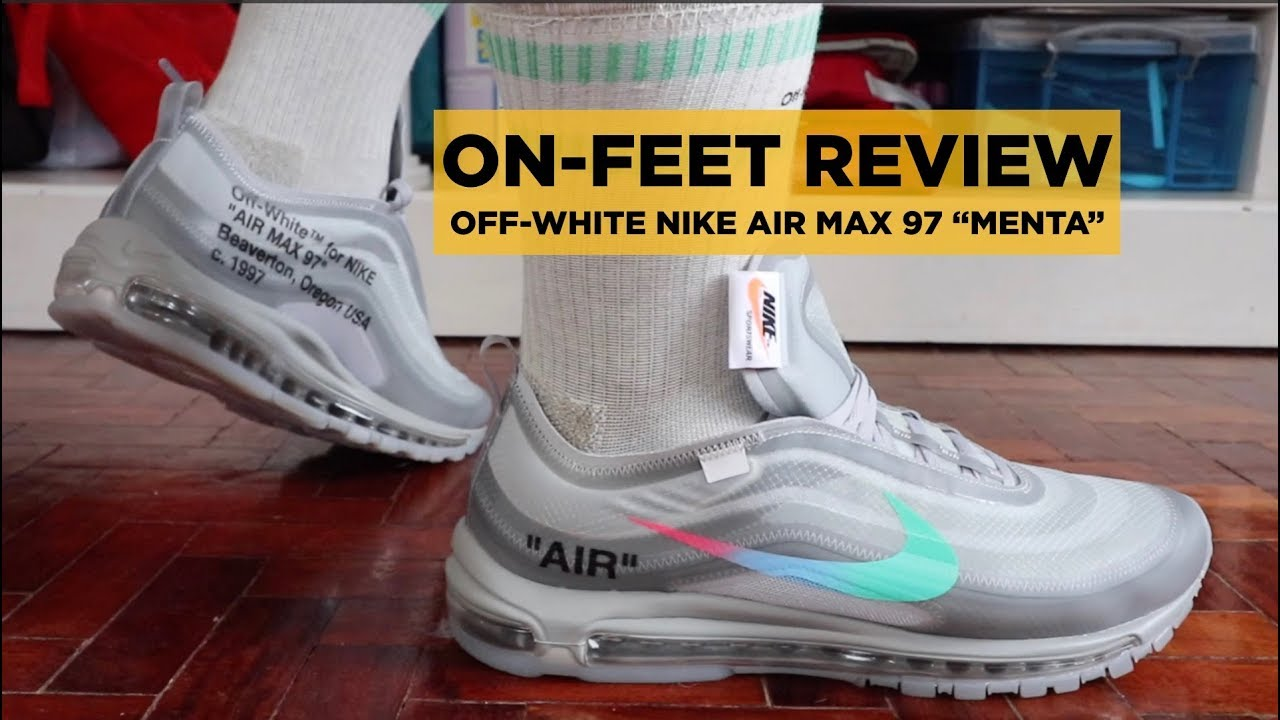 OFF WHITE NIKE AIR MAX 97 MENTA UNBOXING, ON FEET REVIEW