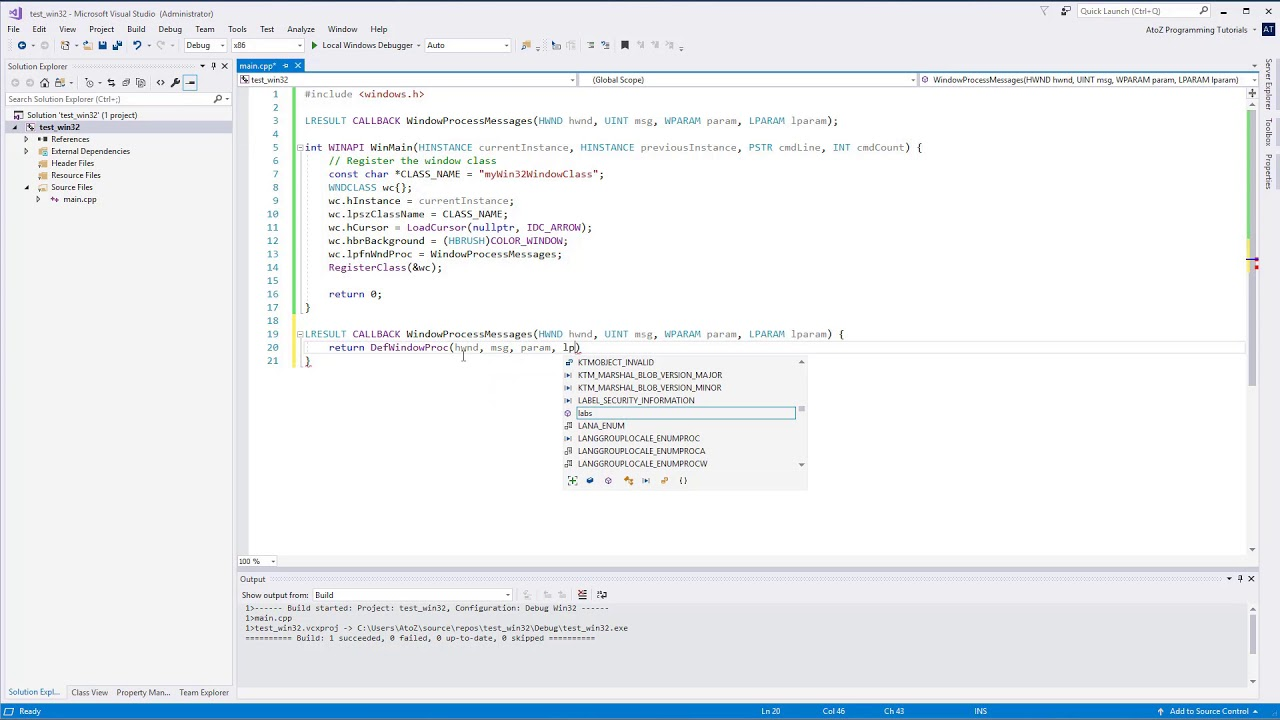 C++ How to open or create a Win32 window