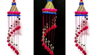 DIY- jhumar/wall hanging with wool and plastic bottle  wind chimes from wool
