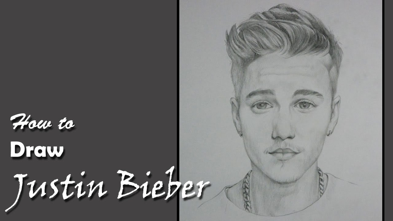 how to draw justin bieber sketch