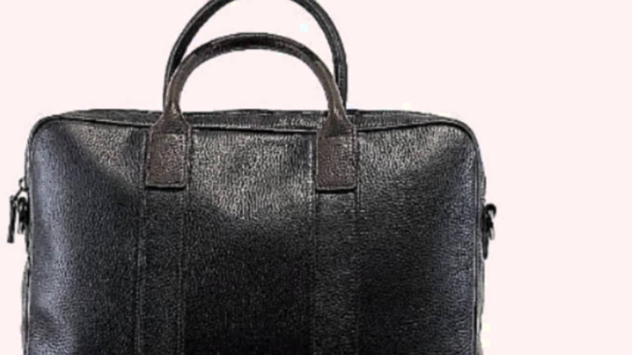 Hugo Boss Men S Buxton 2 Black Brown Pebbled Leather Briefcase Bag