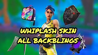 Fortnite Whiplash Skin With All Backblings Showcase !!