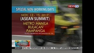 BP: Nov. 13-15, idineklarang special non-working days sa NCR, Bulacan at Pampanga