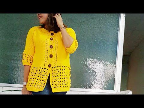 HƯỚNG DẪN MÓC ÁO KHOÁC RÁP HOA( Phần 2)// Crochet Coat