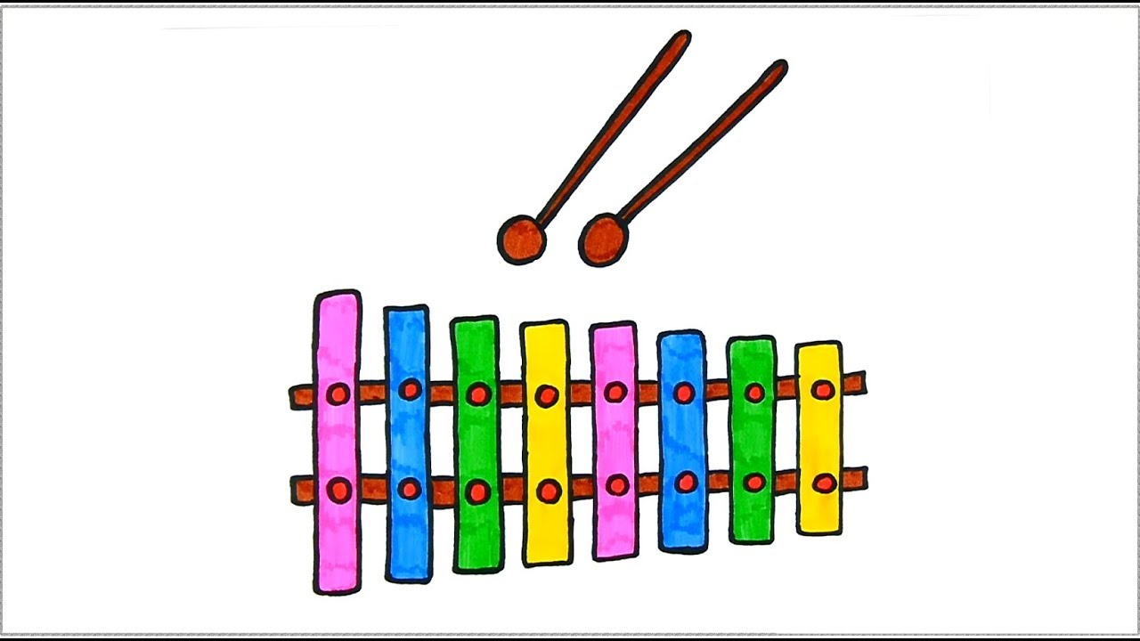 How to Draw Xylophone Сolours for kids with Colored Markers - YouTube for Xylophone Drawing For Kids  150ifm