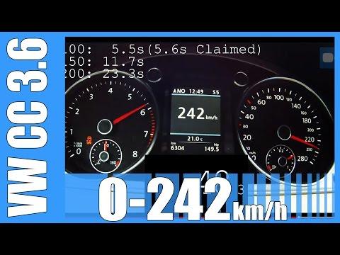 VW CC 3.6 V6 FAST! 0-242 km/h 300 HP LAUNCH CONTROL Acceleration Beschleunigung Test Autobahn