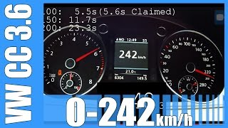 vw cc 3 6 v6 fast 0 242 km h 300 hp launch control acceleration beschleunigung test autobahn