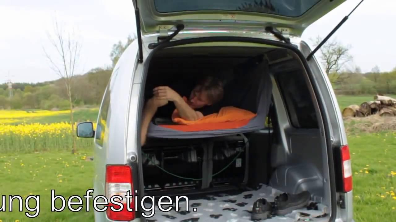 schlafen im vw caddy hochdachkombi youtube. Black Bedroom Furniture Sets. Home Design Ideas