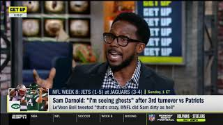 """GET UP   Desmond Howard react to Sam Darnold:""""I'm seeing ghosts"""" after 3rd turnover vs Patriots"""