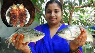 Fried Fish- Big Fish Fry In My Village Style| Roasted Fish & Live Fish Catching In River | Sea Foods