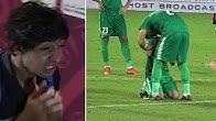بكاء و حزن لاعبي المنتخب العراقي بعد الخروج من كاس الخليج 24 امام البحرين.