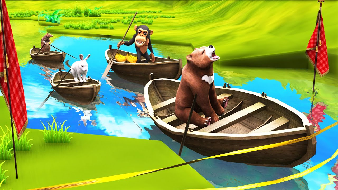 चार दोस्त नाव रेस बंदर, भालू, खरगोश और चूहा Four Friends Boat Race Hindi Kahaniya हिंदी कहनिया Story