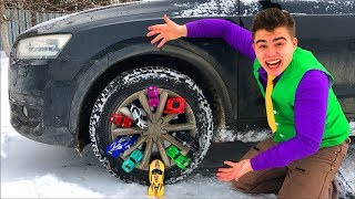 Mr. Joe on Audi Q3 VS A LOT OF Toy Cars Lamborghini & Ferrari & Honda in Wheel Car for Kids