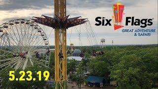 Six Flags GAdv Vlog - 5.23.19 - Huge New England Crew Visits NJ! + Stuck in the Rain at Superman!