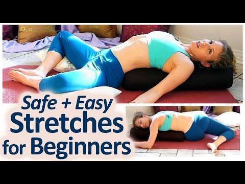 Safe Beginner Stretches For Back Pain Neck, Shoulders Relief or Sciatica Yoga Class