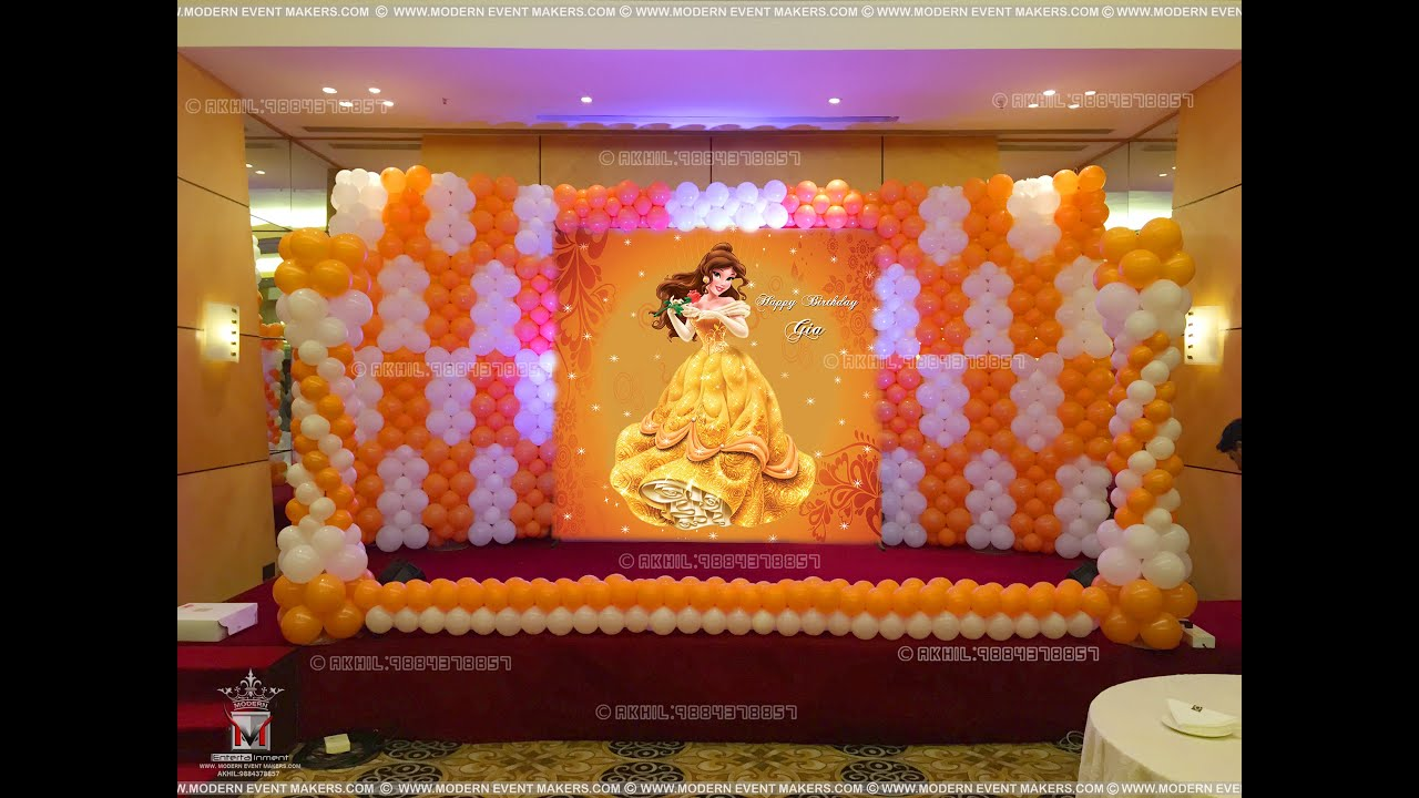 Princess theme party from modern entertainment youtube for Balloon decoration in chennai
