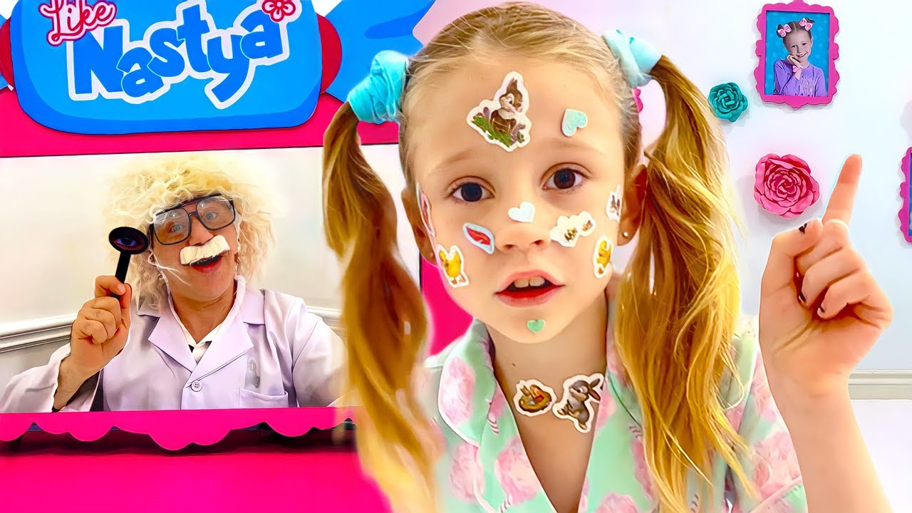 Nastya pretends that she has a sticker pox and goes to Dad. Useful stories for children