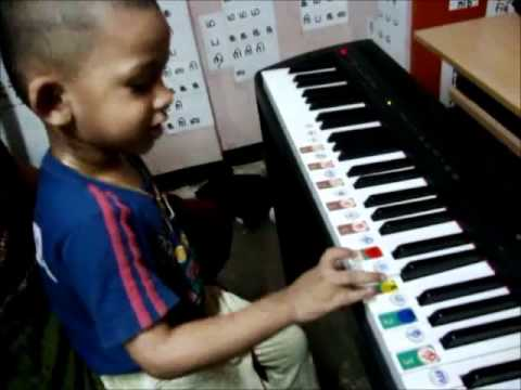 2.8 Years Old baby playing piano Ten Little Indian Nursery Song