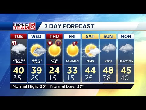 Video: Rain to turn to snow late afternoon